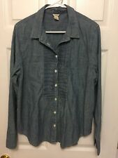 J Crew Chambray Button Down Long Sleeve 100% Cotton  Size 12