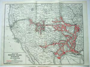 Missouri Pacific Railroad - Original 1932 Railroad System Map. Vintage Railway