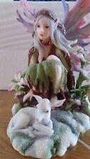 Bergsma Winter Magic Fairy/lamb Statue Ornament cold cast resin/hand painted