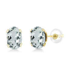1.00 Ct Oval 6x4mm Tanzanite 10k Yellow Gold Stud Earrings