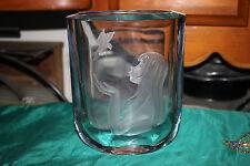 Stromberg Strombergshyttan Etched Glass Vase-Girl Long Hair Holding Bird-Signed