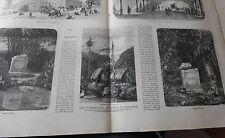 Gravure 1869 - La foire aux jambons marchand foulards huitre éponges Vélocipède