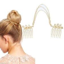 USA Boho Hair Chain Garland Barrette Comb Golden Gold Leaf Wedding Prom Headband