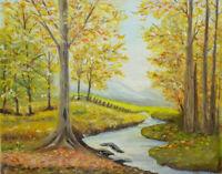 1987 Original Autumn Fall Landscape Oil Painting O/C Signed N. W. Hanson 20x16