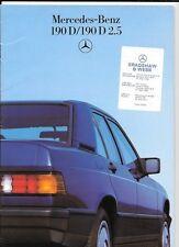 MERCEDES BENZ  190D & 190D 2.5 SALES BROCHURE 1986 1987