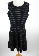 Metaphor Dress Sz XL Black White Sleeveless Knit Fitted Top Flared Skirt Pin-up