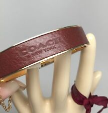 NWT COACH #99990 Brick Brown Saffiano LEATHER Brass Chain Hinged Bangle Bracelet