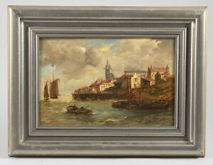 French or Spanish Coastal Town Seascape Signed Zimore Antique ca 1890 Oil
