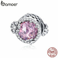 Bamoer S925 Sterling Silver CZ charm Bead Pink Flavor Fit Girl Bracelet Jewelry