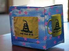 """Boxed Set: Don't Tread on Me coffee mug with 12""""X18"""" Gadsden flag with grommets"""