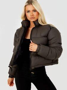 Womens Ladies Girls Cropped Short Stylish Puffer Jacket Coat New Zip Up