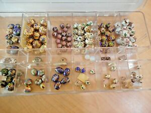 Large CLOISONNE BEAD LOT 150+ Loose Mostly Round Varied mm Sizes Chinese Vintage