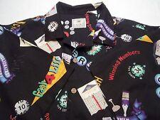 Men's Gambling Lottery Lotto Scratch Off Winner Shirt Size L Camp Button Up