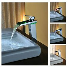 Cascada Color Changing LED Waterfall Bathroom Sink Faucet - HDD721H - Chrome