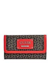 NEW GUESS PROPOSAL NATURAL MULTI BLACK+RED LEATHERETTE,PVC LARGE WALLET,CLUTCH