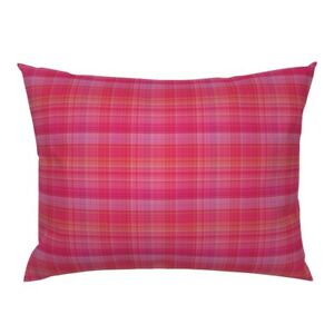 Pink Plaid Hot Pink Dark Pink Madras Plaid Pink And Pillow Sham by Roostery