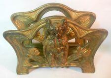 Vtg ART NOUVEAU Desk Letter paper Napkin Holder OWL Brass Bronze Tone Cast Iron