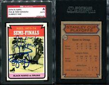 1974-75 TOPPS PHIL & TONY ESPOSITO SGC AUTHENTIC AU804217 HOF SIGNED AUTO CARD