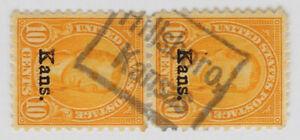 Pair of Kansas Overprints 1929 10c James Monroe Scott #668 Hillsboro Box Cancel