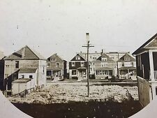 "1920s 8.5"" Cabinet Photograph Suburb-City Row of Houses/Factory/Model T Truck"