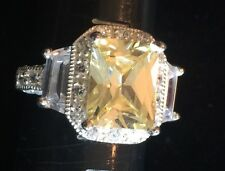 Beautiful Sterling Silver W/ Citrine Yellow Cz Center Fashion Cocktail Ring,Sz 6