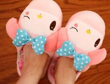My melody blink eye blue bowknot indoor slippers fuzzy shoes warm  slippers