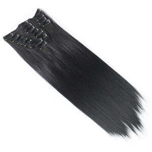 "Clip in Hair Extensions Natural Black Straight 15"" Full Head 8 Pcs 110g"