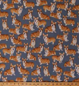 Cotton Dogs Pembroke Welsh Corgis Corgi Pets on Gray Fabric Print BTY D753.11