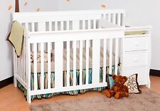 White 4 in 1 Side Convertible Crib Changer Nursery Furniture Baby Toddler Bed