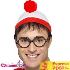 Wheres Wally Instant Kit Costume Mens Ladies Wenda Waldo Book Week Hat & Glasses