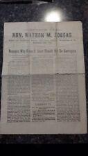 Watertown N.Y. Republican Convention 1889 Watson m. Rogers Speech