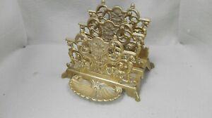 Vintage Art Nouveau Style Brass Letter Rack ID2290 B37