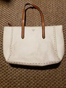 FOSSIL Sydney Ivory/Cream Pebbled Leather Large Tote Shoulder Bag $259