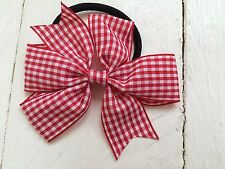 Red Gingham Bow Hair Bobble Hair Elastic Back to School Uniform
