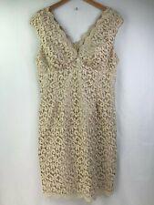 Marina Ivory Lace Overlay Evening Cocktail Dress Lined V Neck Sleeveless Size 14