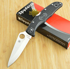 Spyderco Endura 4 Black FRN Plain Edge Saber Ground VG10 Lockback Knife C10PBK