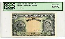 Bahamas... P-15d ... 1 Pound ... 1953 ... CH*XF*   PCGS 40 PPQ