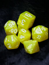 Lemon Drop - Set of 7 Yellow and White Swirl Polyhedral RPG Dice for D&D