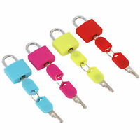 4pc Small Travel Coloured Coated Brass Padlocks Luggage Bag Suitcase Padlock Set