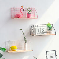 Industrial Style Wall Mounted Shelf Unit Metal Wire Floating Shelves Wood Rack