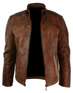 Mens Brown Vintage Antique Cafe Racer Motorbiker Real Leather Jacket