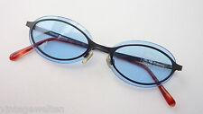 Polaroid Metall Sonnenbrille blaue Gläser Bohrbrille schwarz oval size M