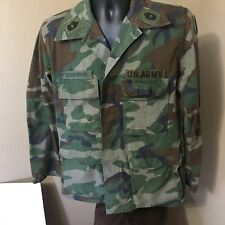"""US Army Military Woodland Camo Patches Shirt Jacket 44"""" Med Reg Hunting Airsoft"""