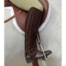 Dublin Original Fit Half Chaps Childs small to Adult large Black/Brown Suede