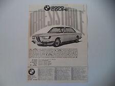 advertising Pubblicità 1966 BMW 2000 COUPE'