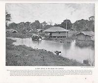 1897 Vittoriano Stampa ~ Post Ufficio IN An Indiano Tè District Elefante + Testo