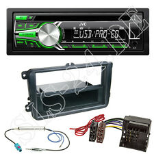 JVC USB CD AUX Autoradio vert VW Passat CC 3 C Polo V VI Façade Radio ISO Adaptateur