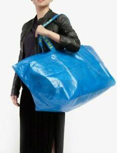 2-PACK Large IKEA Frakta 19Gallon Blue Reusable Shopping Laundry Eco Tote Bag