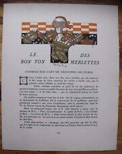 Félix Lorioux Le Bon Ton des Merlettes 1914  Texte Jean de Bonnefon