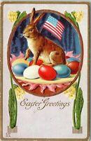 Rare~Bunny Rabbit with American Flag~Eggs~Antique~Patriotic Easter Postcard-p375